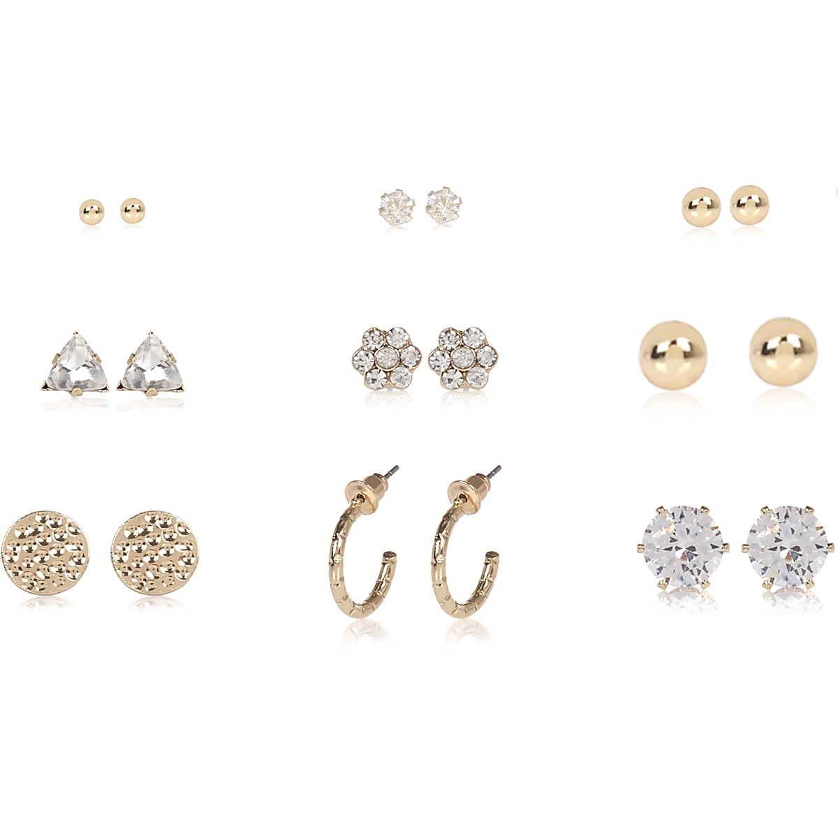Gold tone rhinestone stud earrings pack