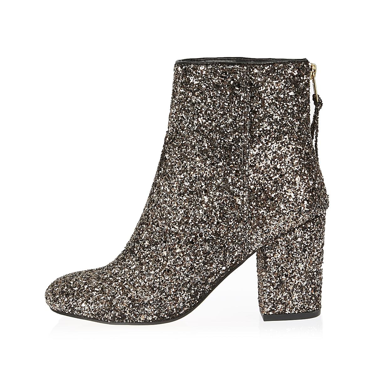 Gold glitter block heel ankle boots