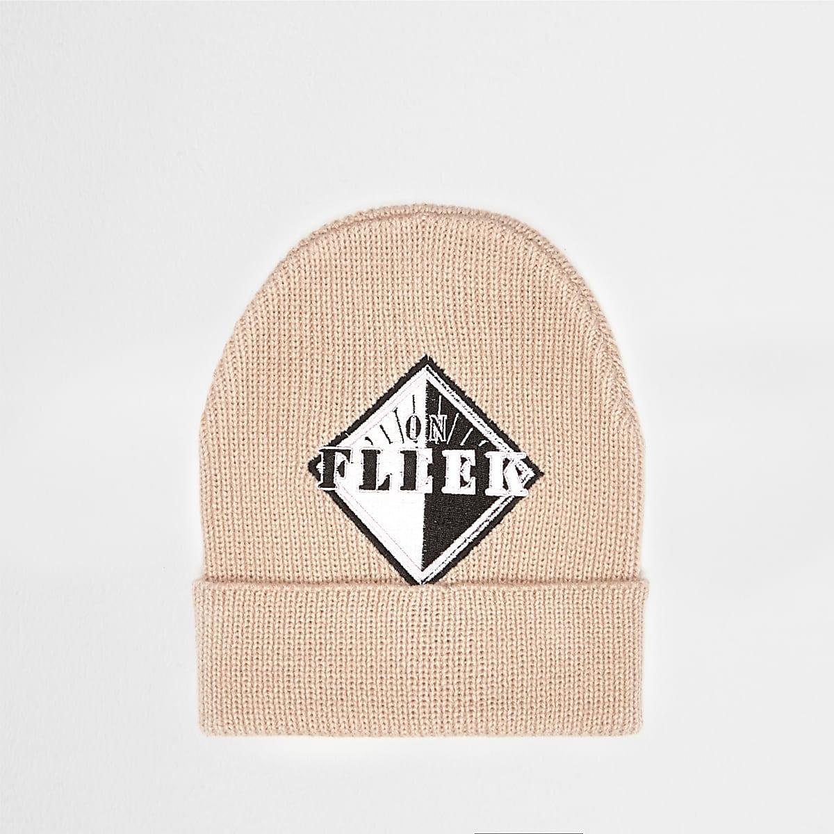 Light pink 'Fleek' badge beanie