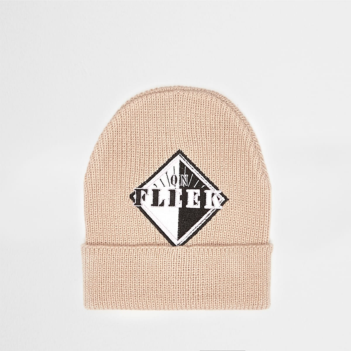 Light pink 'Fleek' badge beanie