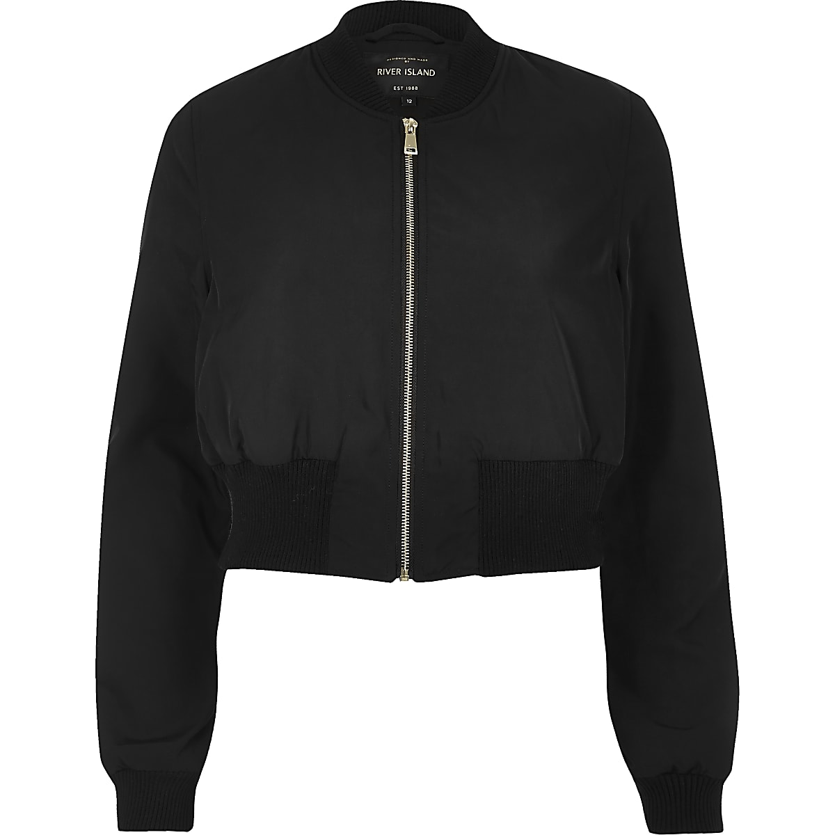 103bcf1cd Black cropped bomber jacket
