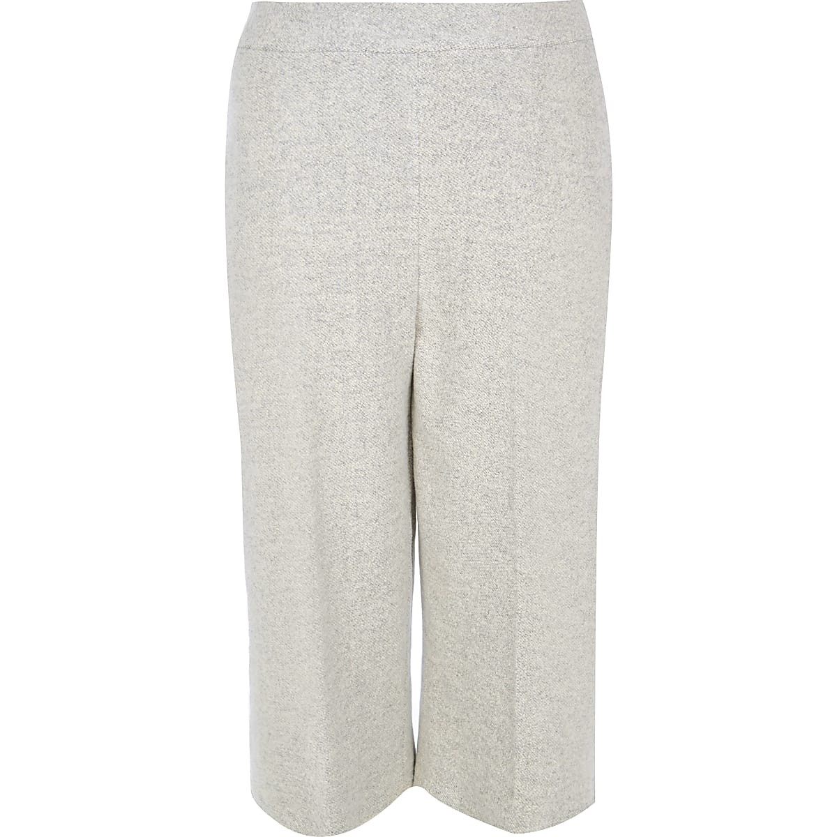Plus light grey knit cropped pants