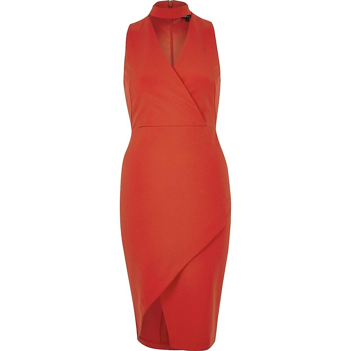 954c45a9e60abf Red wrap choker bodycon dress