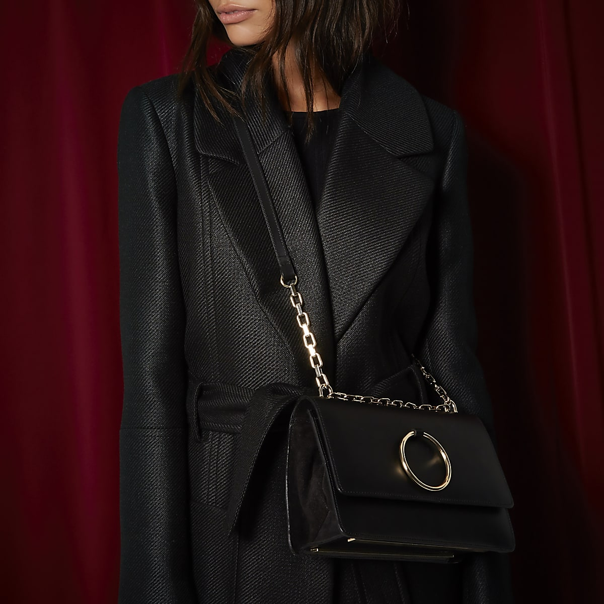 RI Studio black leather ring bag