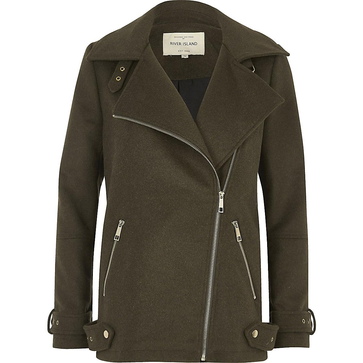 Khaki green wool blend aviator coat