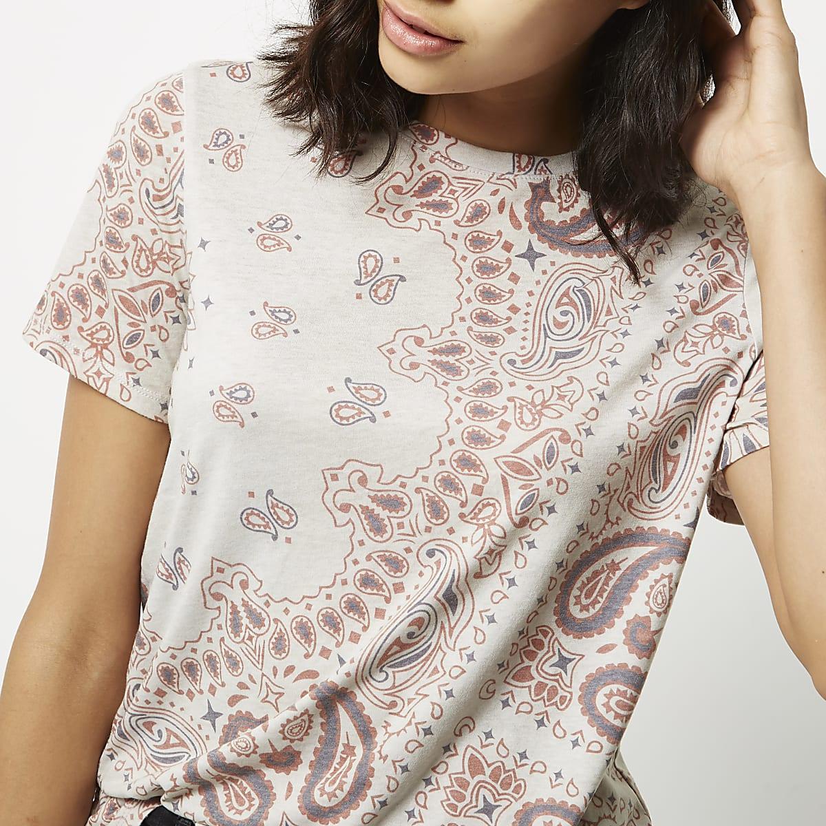 Cream short sleeve print t-shirt