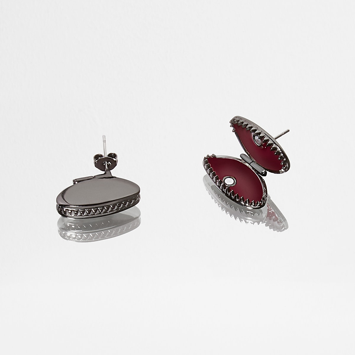 Gunmetal Design Forum fly trap stud earrings