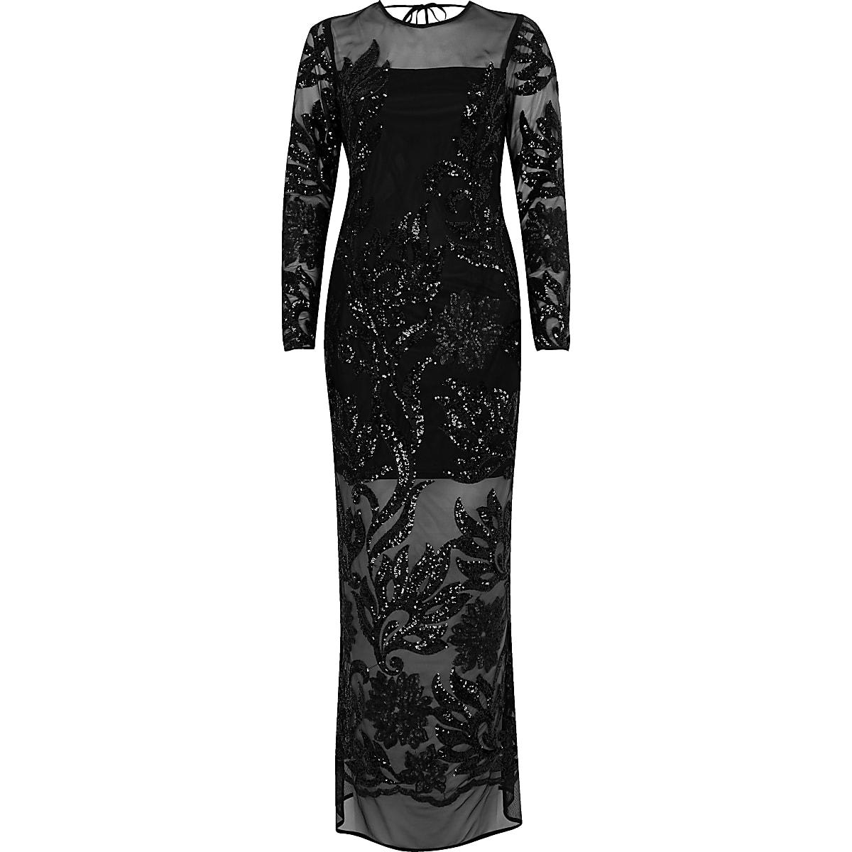 5cadc3d158 Black embellished mesh maxi dress - Maxi Dresses - Dresses - women