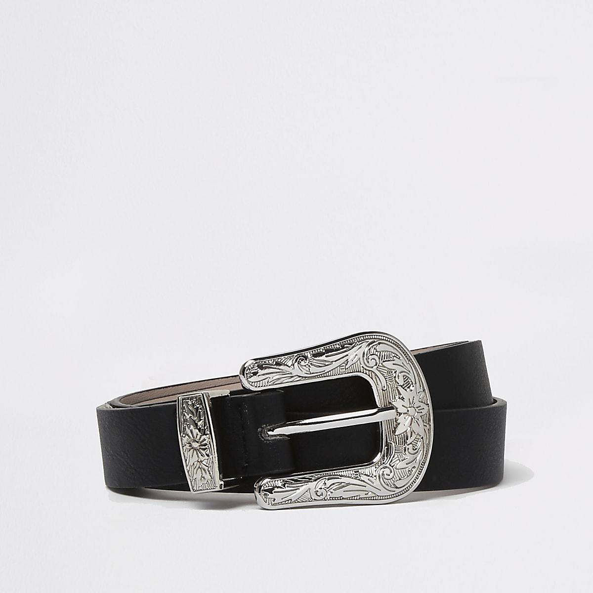 f76fa167b Black silver buckle western belt - Belts - Accessories - women