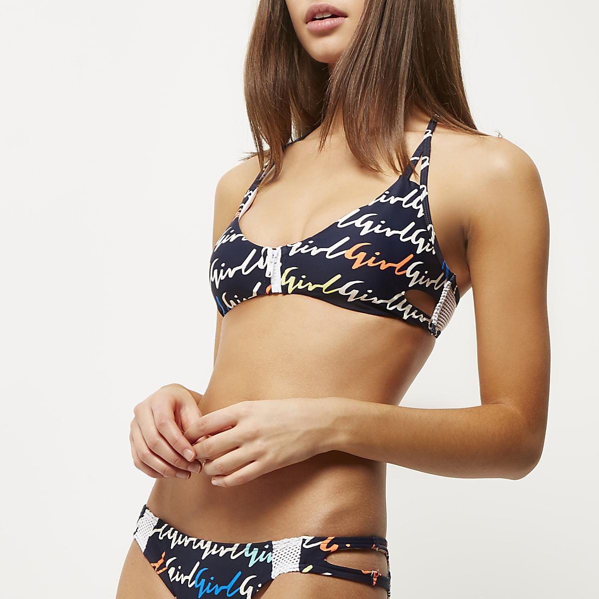 Blue print zip front bikini top
