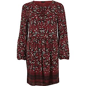 Red long sleeve floral print swing dress