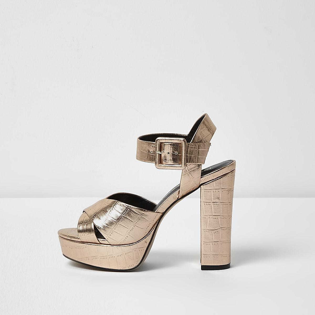 24040e787a00 Rose gold wide fit platform heel sandals - Sandals - Shoes   Boots - women