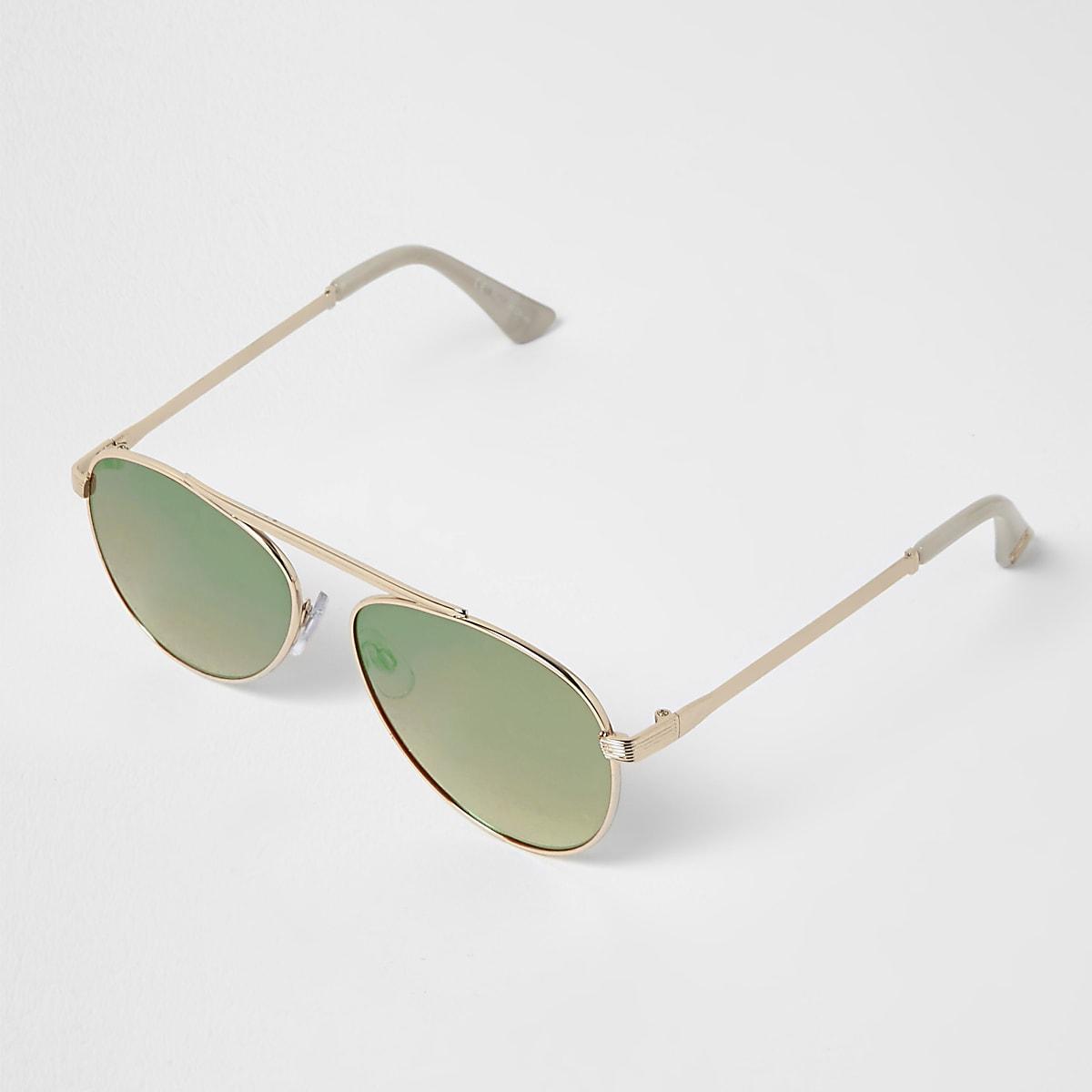 e918adba3925da ... Goudkleurige zonnebril met brug en groene spiegelglazen ...