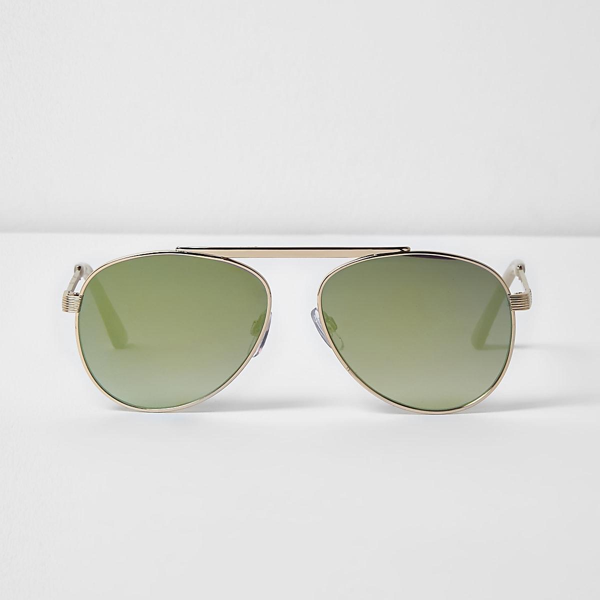 Gold tone brow bar green mirrored sunglasses