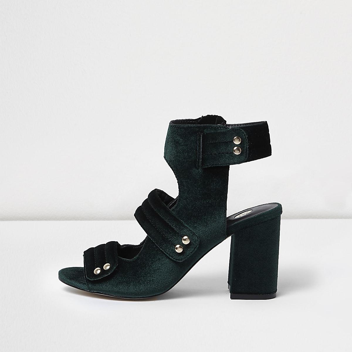 8ae1c3ca64 Khaki velvet strappy shoe boots - Sandals - Shoes & Boots - women