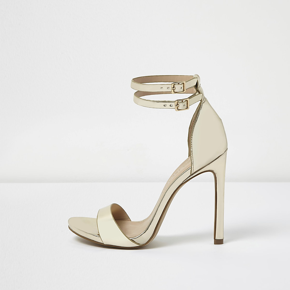 a8a67cf2d17 Gold wide fit strappy barely there heels