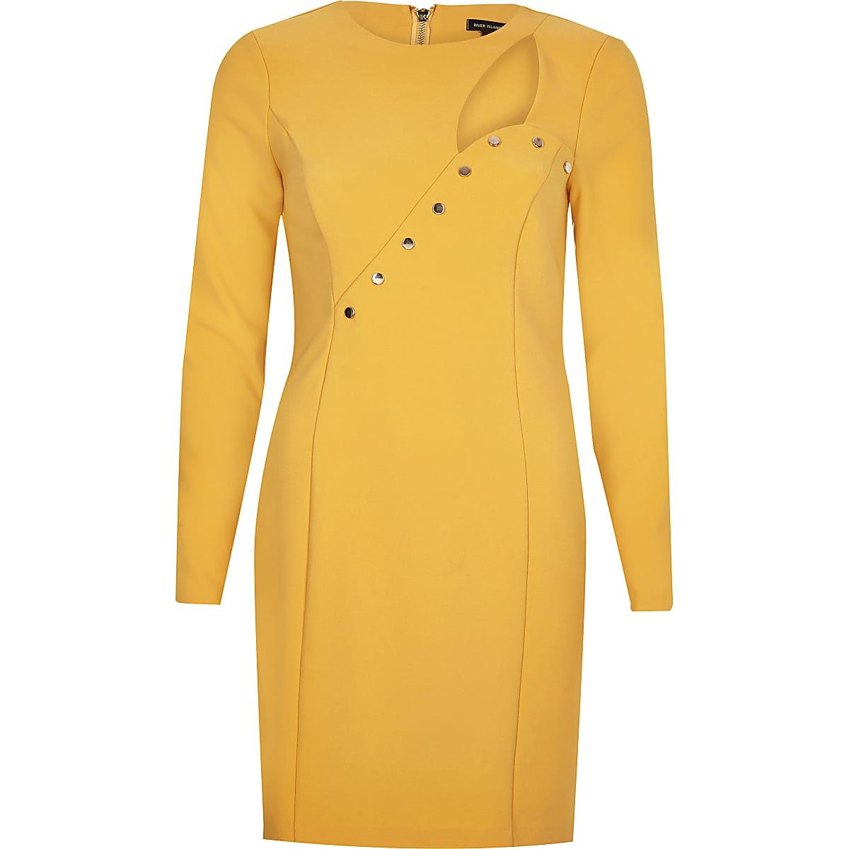 Orange button cut-out bodycon dress