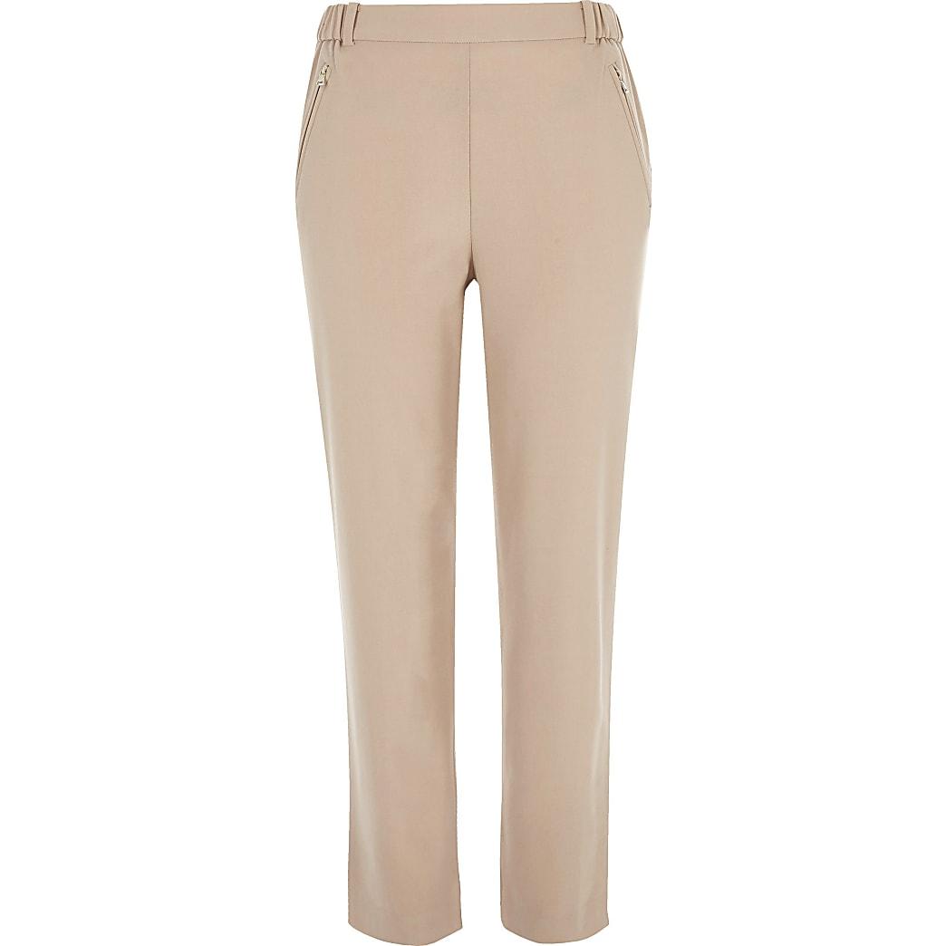 Pink zip detail trousers