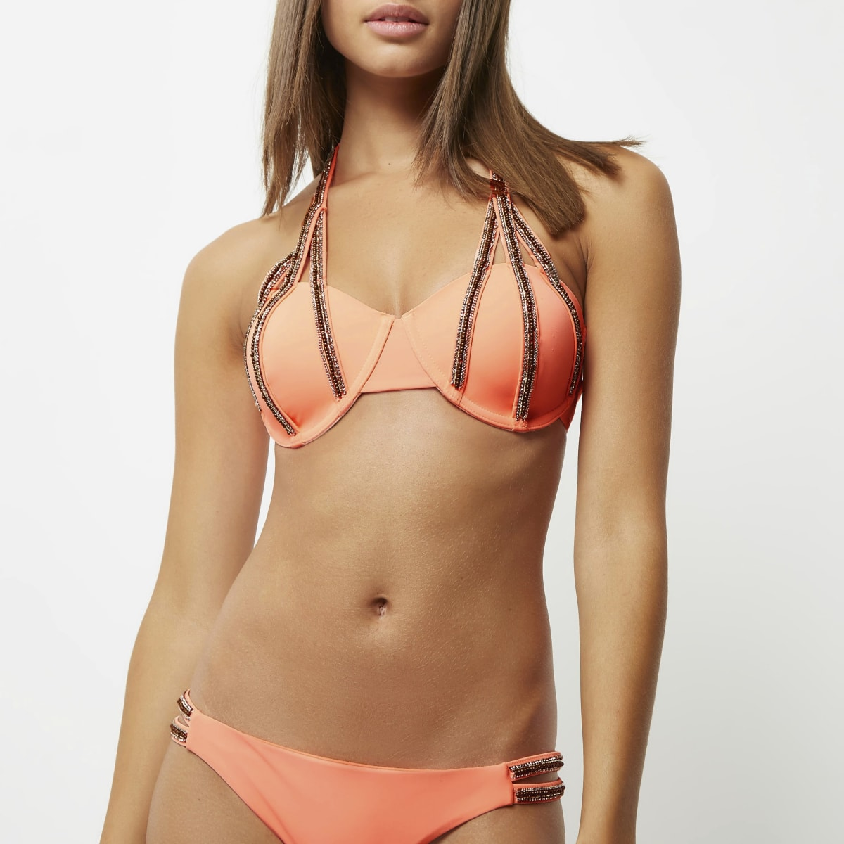 Coral embellished balconette bikini top