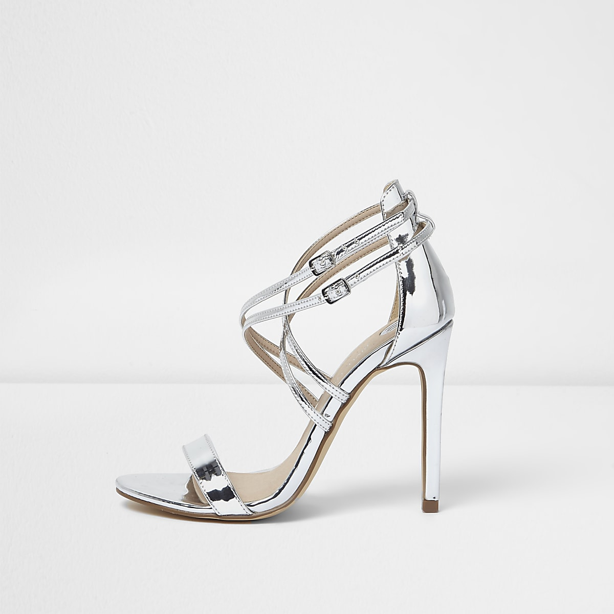 19c109362a204 Silver metallic barely there strappy heels