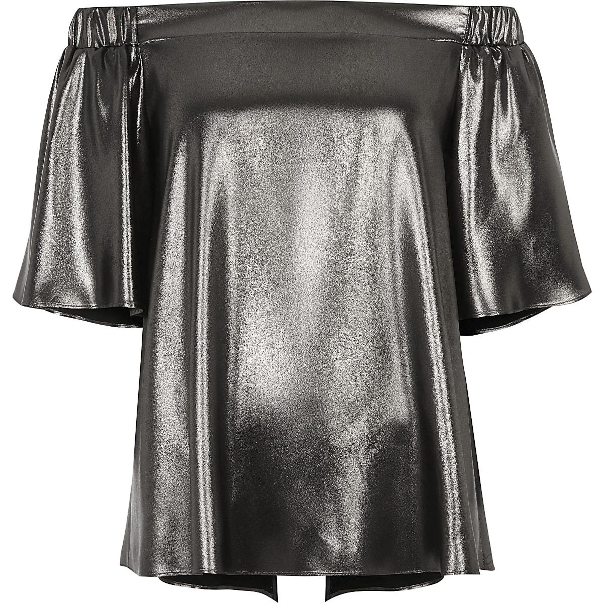 9404ca44dd4a0 Silver metallic bardot top - Bardot   Cold Shoulder Tops - Tops - women