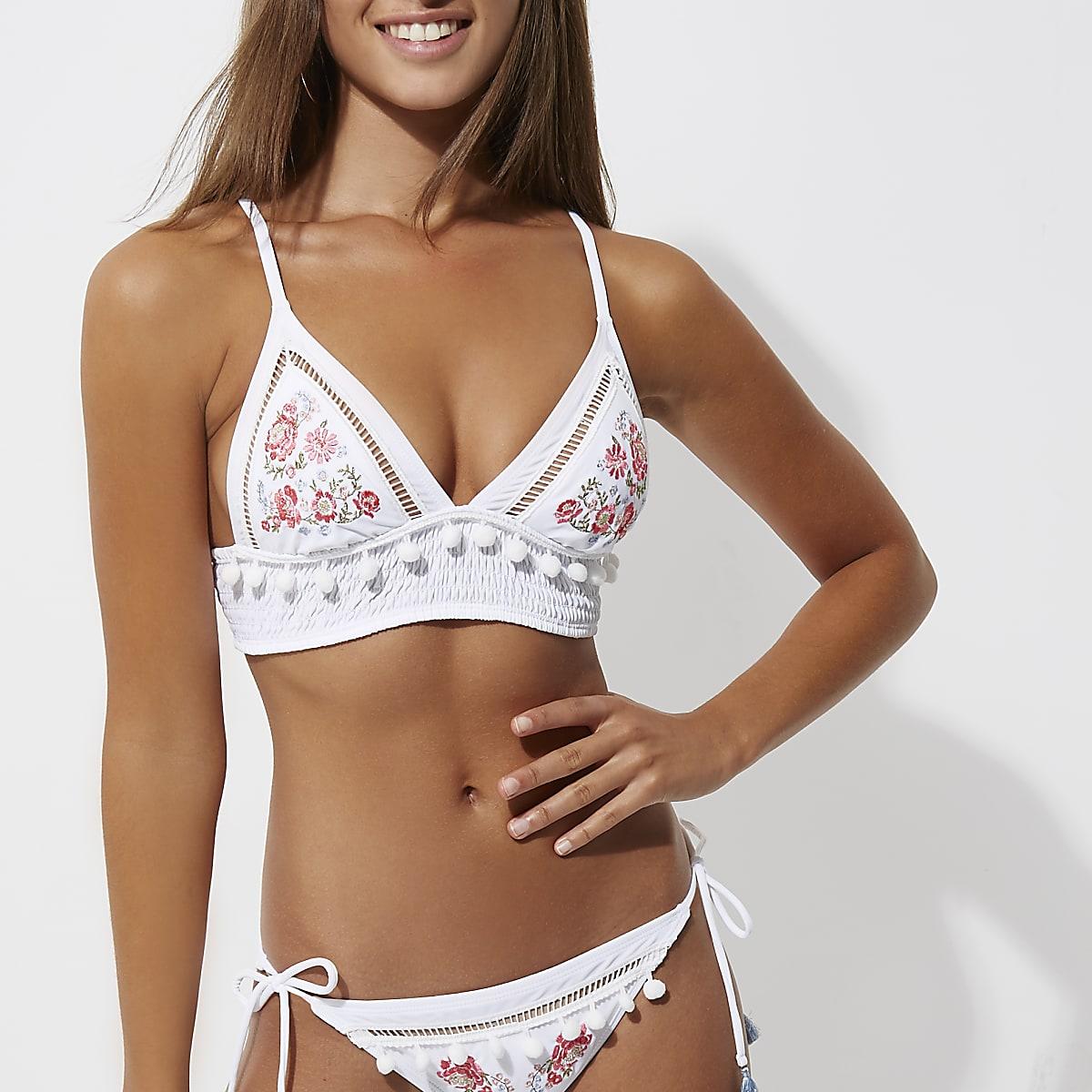 ffec34c90fe White floral triangle longline bikini top - Bikini Tops - Bikinis - Swimwear  & Beachwear - women