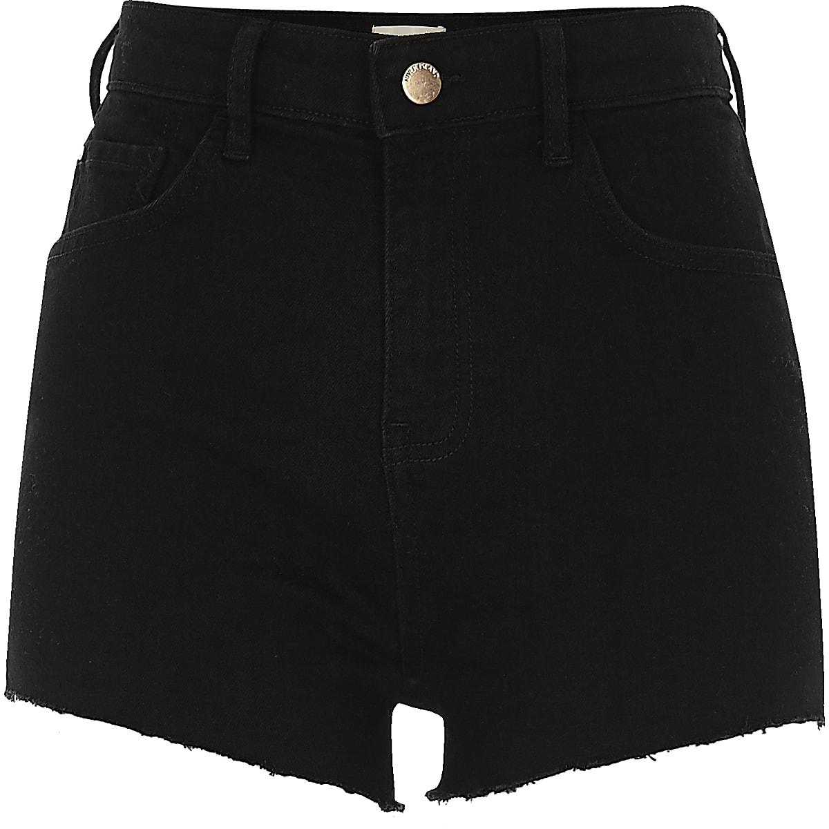 c0b53b3388e Black high waisted stretch hot pants - Denim Shorts - Shorts - women