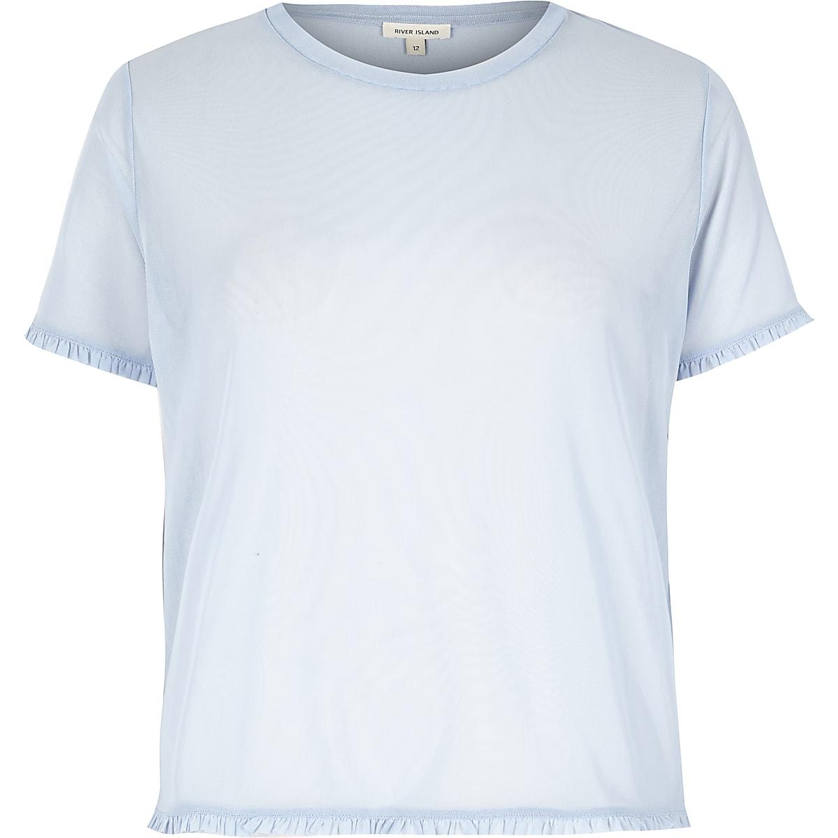 Light blue mesh frill trim T-shirt