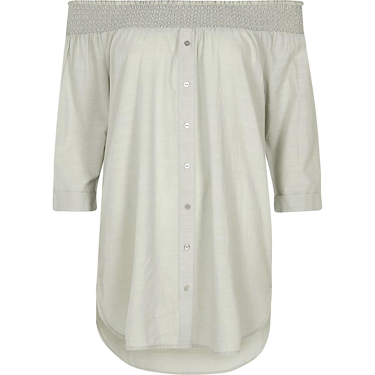Light grey shirred bardot shirt
