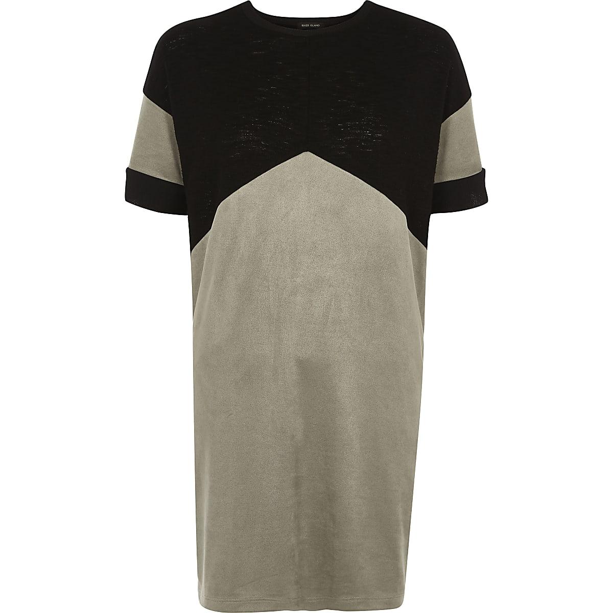 T-shirt colour block à chevrons noir oversize