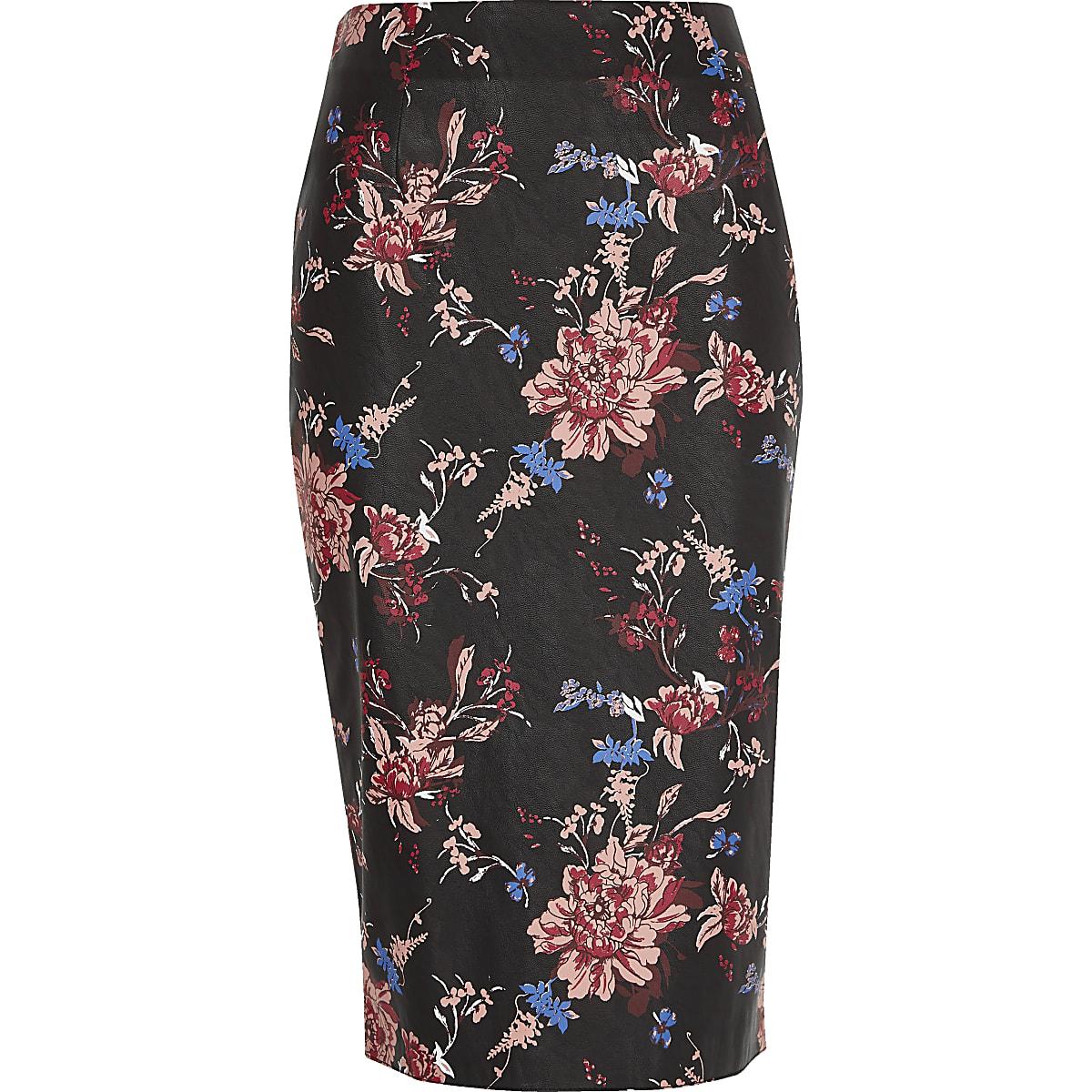 Black faux leather floral print pencil skirt