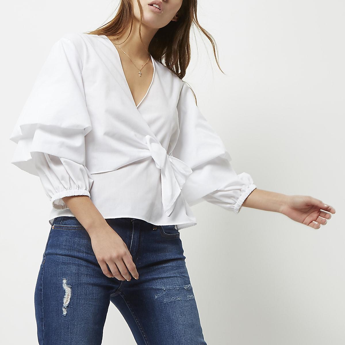 Conception innovante coupe classique obtenir de nouveaux White tied puff sleeve blouse