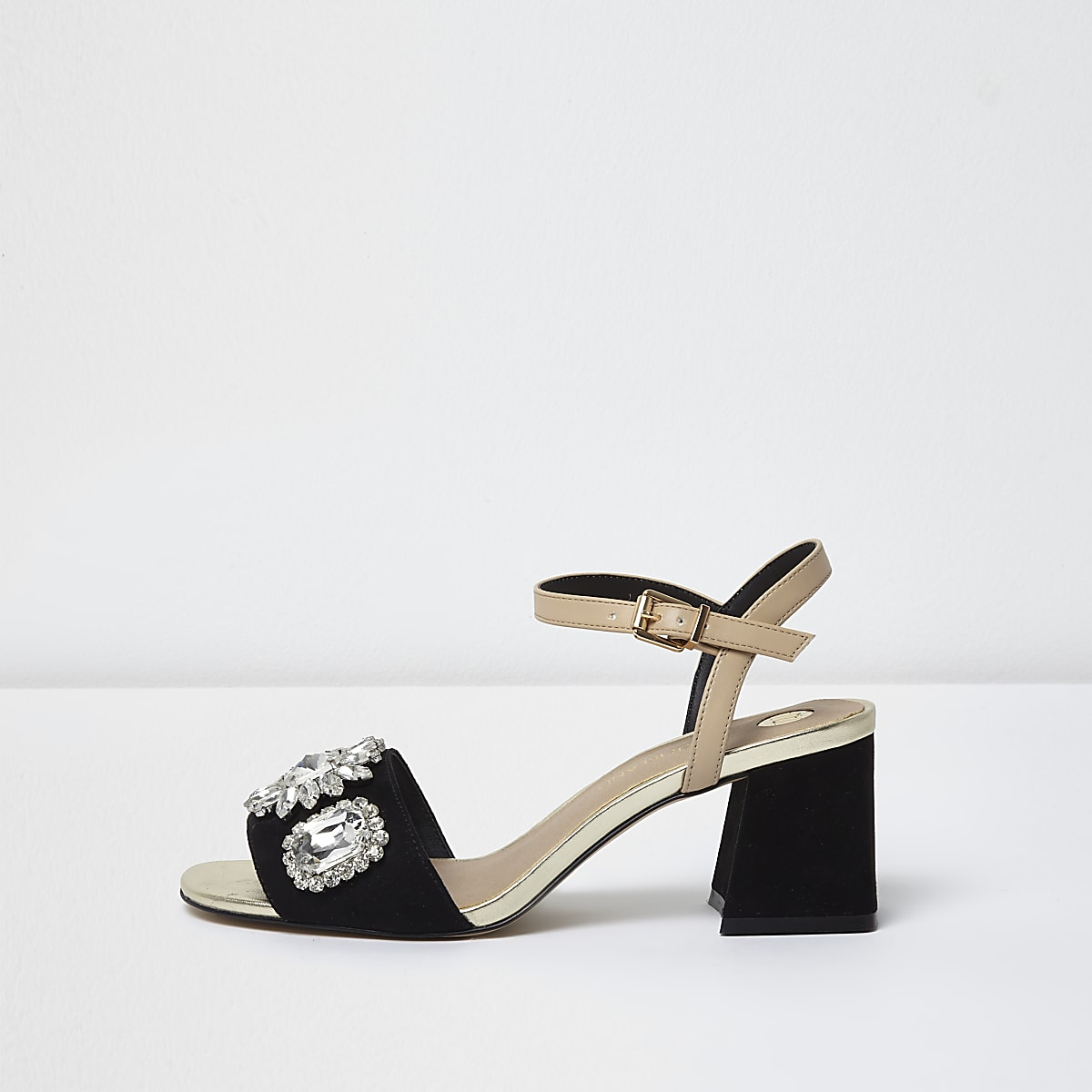 f201fd05c Black and nude diamante block heel sandals - Sandals - Shoes   Boots - women