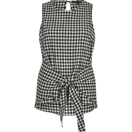 Black gingham print tie knot vest top