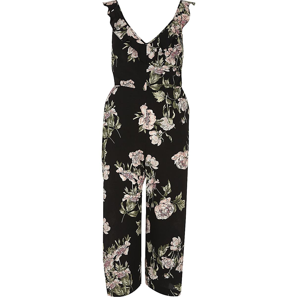 Black floral back tie culotte jumpsuit