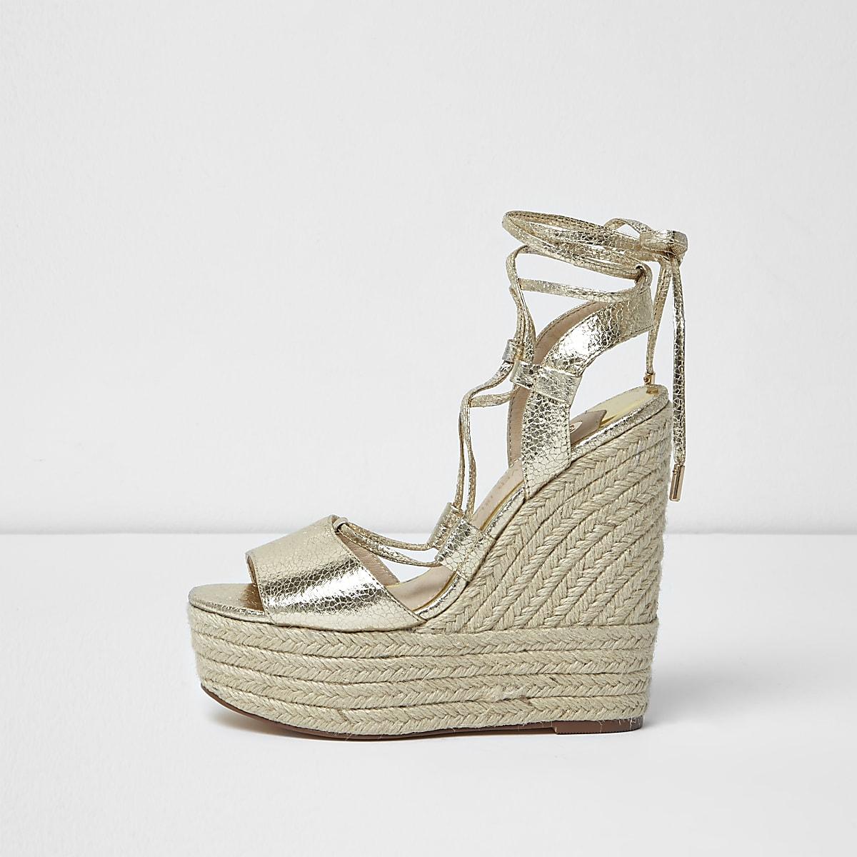 6eebae19b4 Gold tie up espadrille platform wedges - Sandals - Shoes & Boots - women