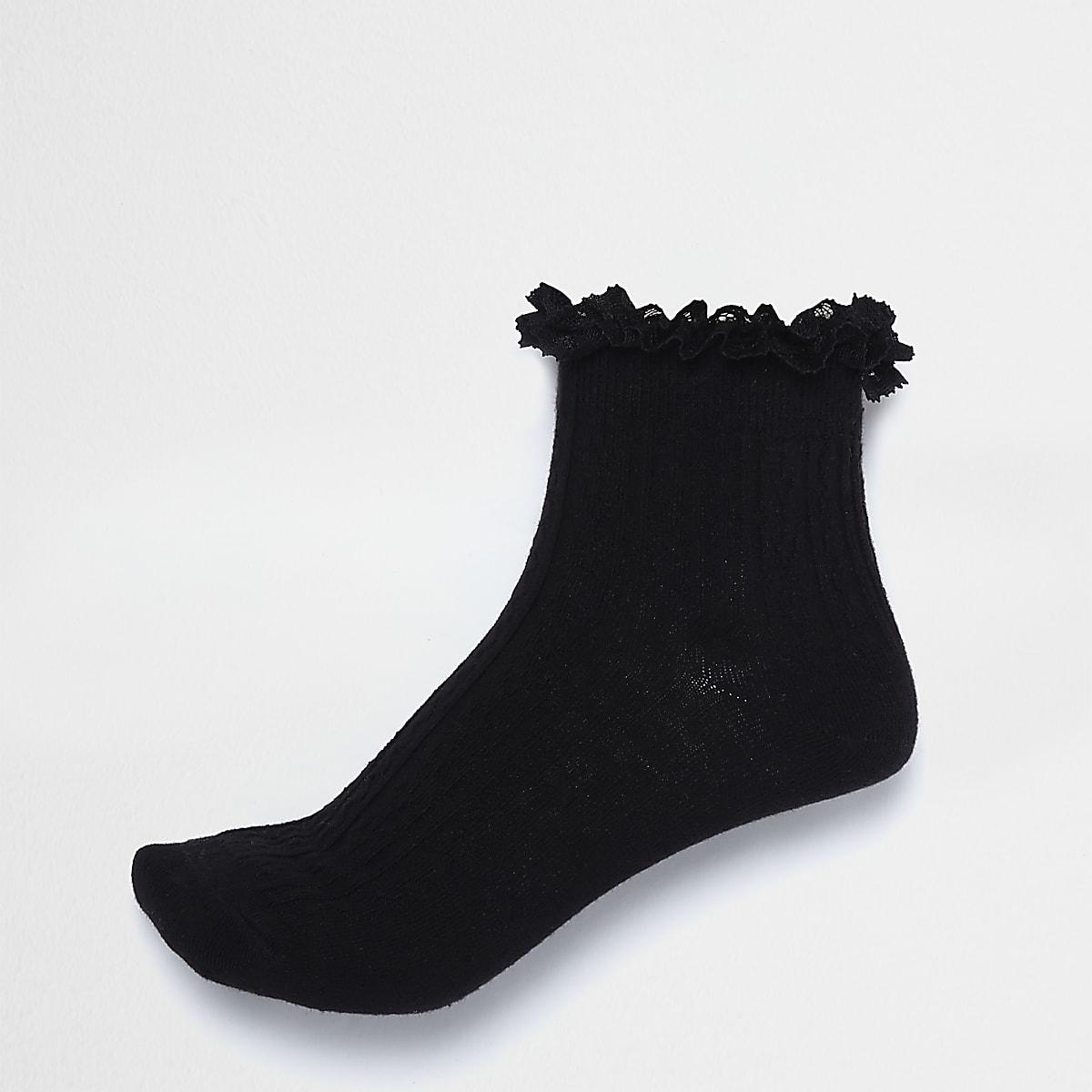 c1a4701d2 Black frill cable knit socks - Tights   Socks - women