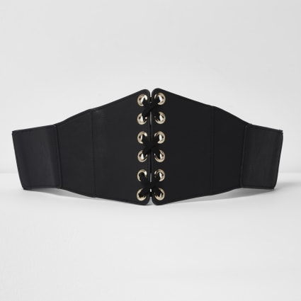 Black wide lace-up front belt