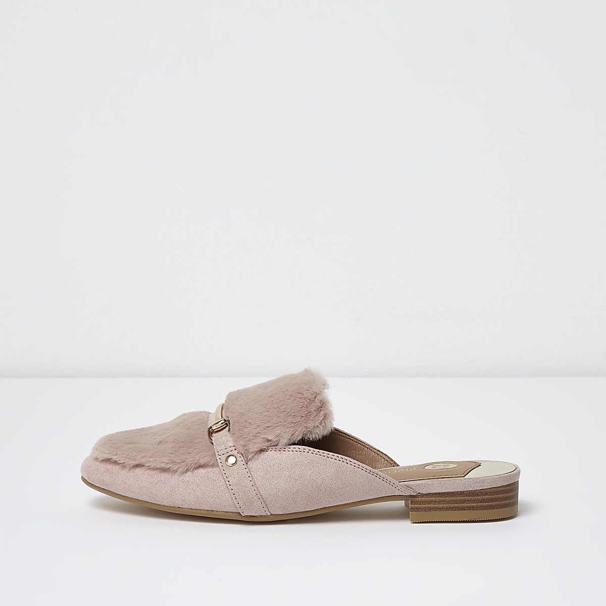 Pink faux fur snaffle backless loafers