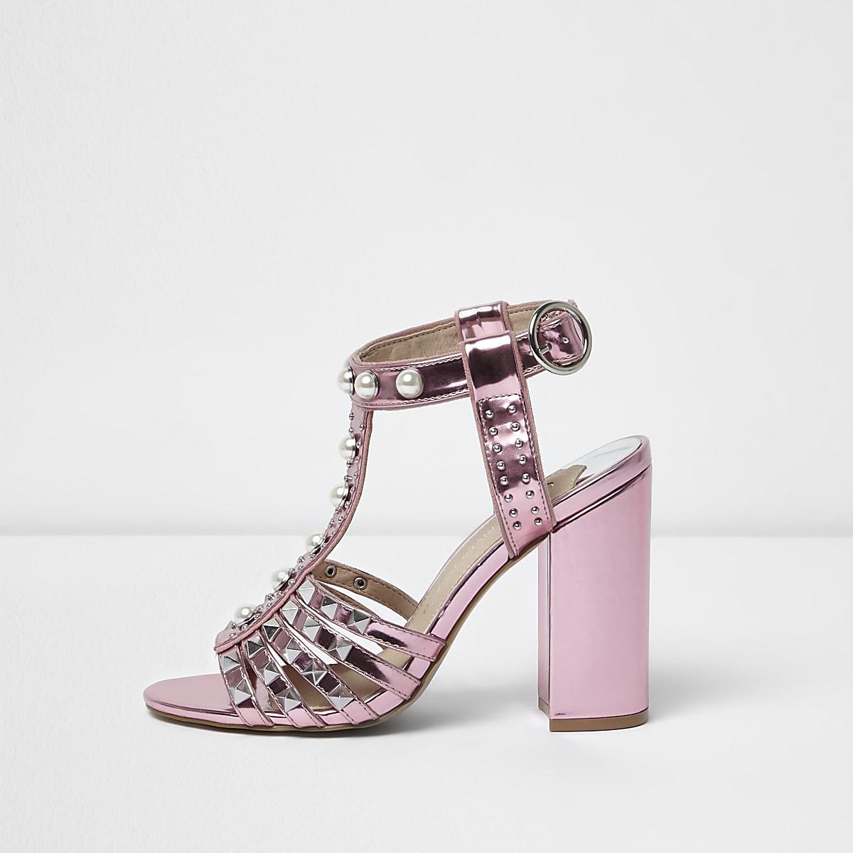 d889d68a872 Pink stud T-bar block heel sandals
