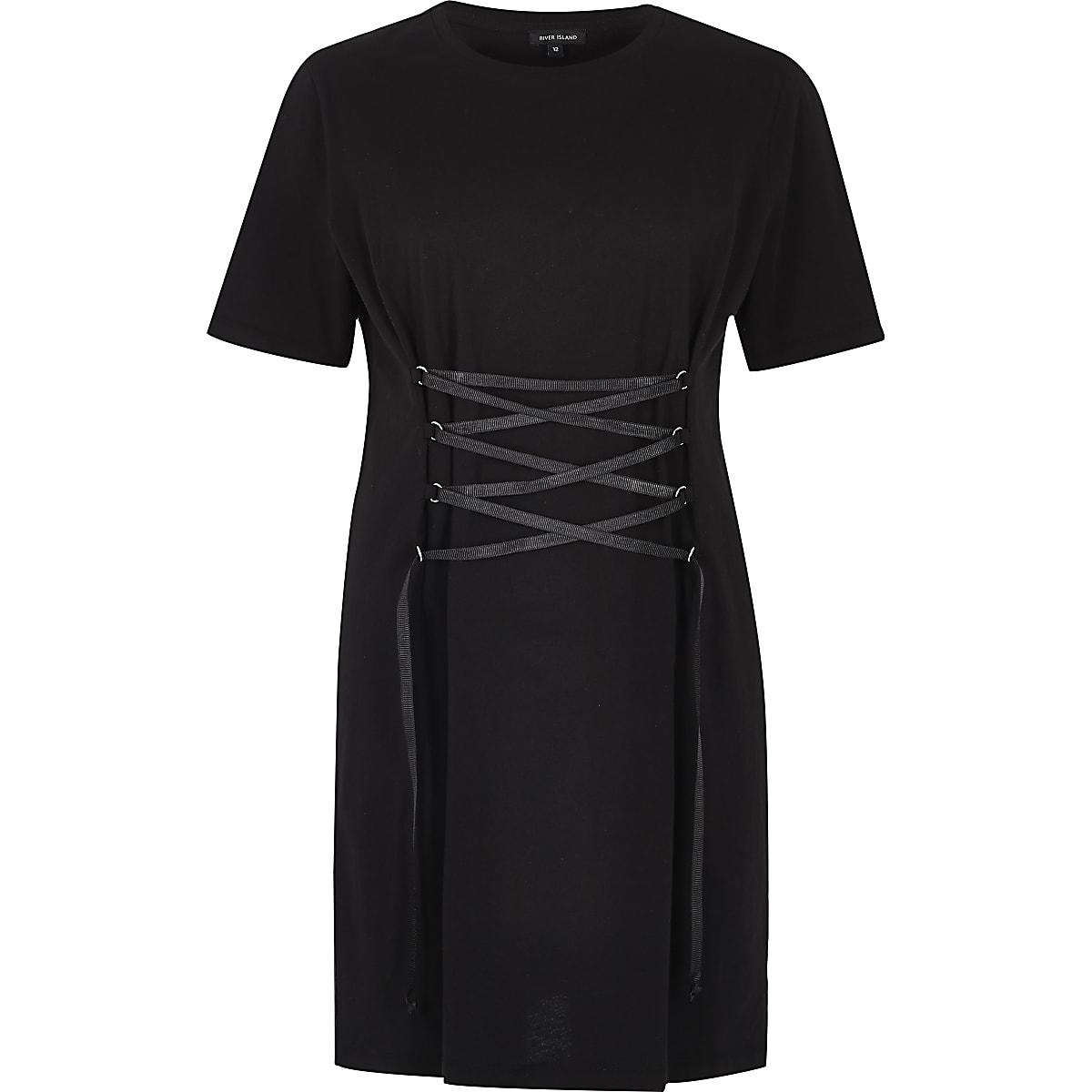 62f8e7b04ba Black corset front oversized T-shirt dress - T-Shirt Dresses - Dresses -  women