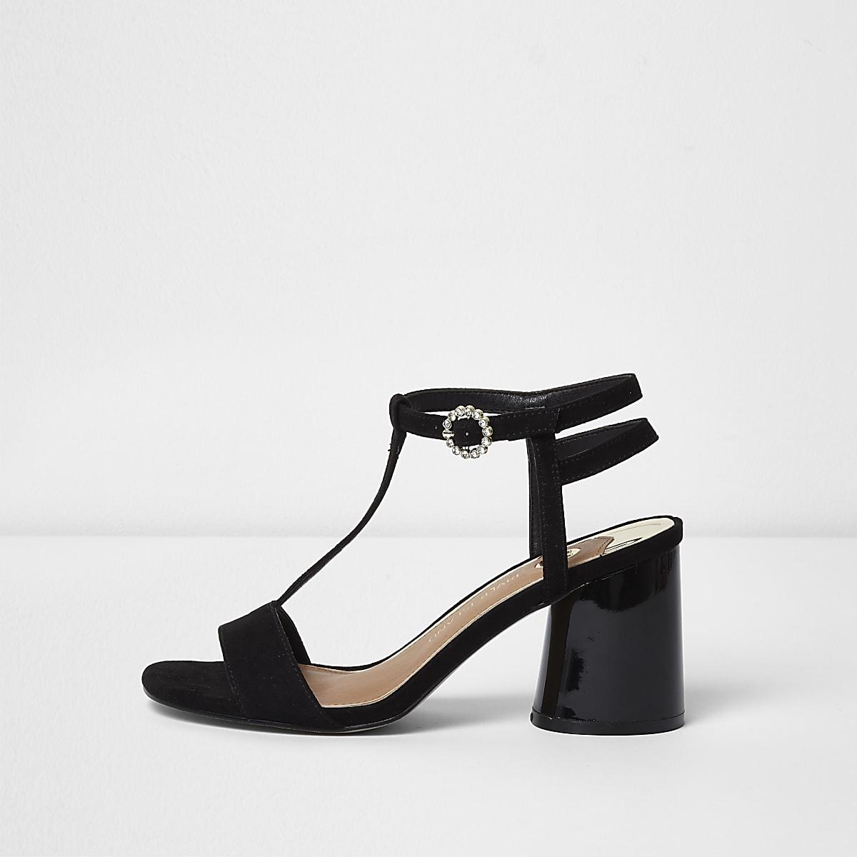 Black T-bar block heel sandals - Sandals - Shoes   Boots - women