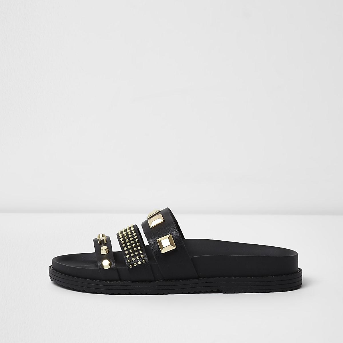 Black studded sliders