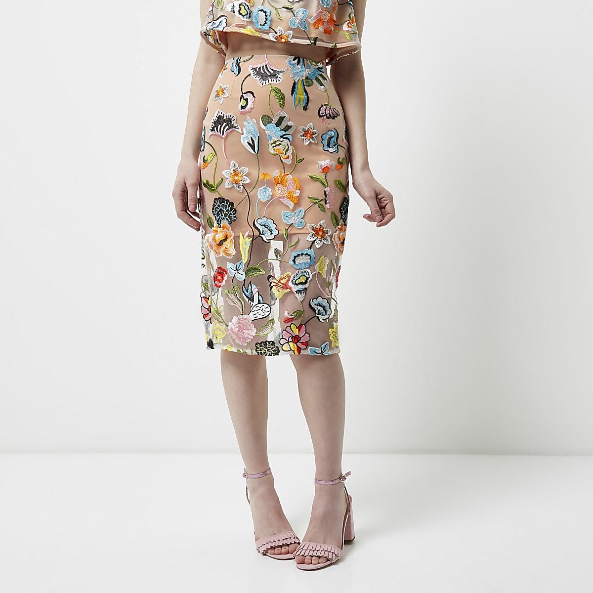 123edb75344aca Floral Midi Pencil Skirt Uk – DACC