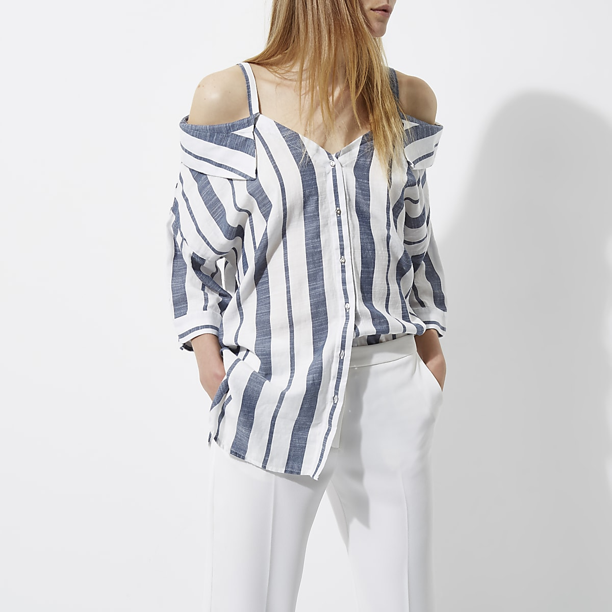 cad79cd1f7cd Navy stripe cold shoulder shirt - Shirts - Tops - women