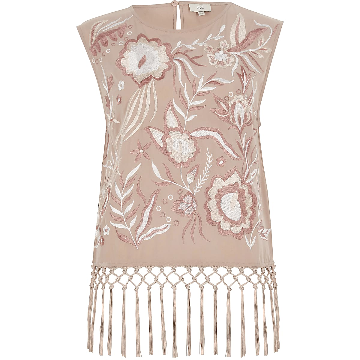 Light pink embroidered fringe top