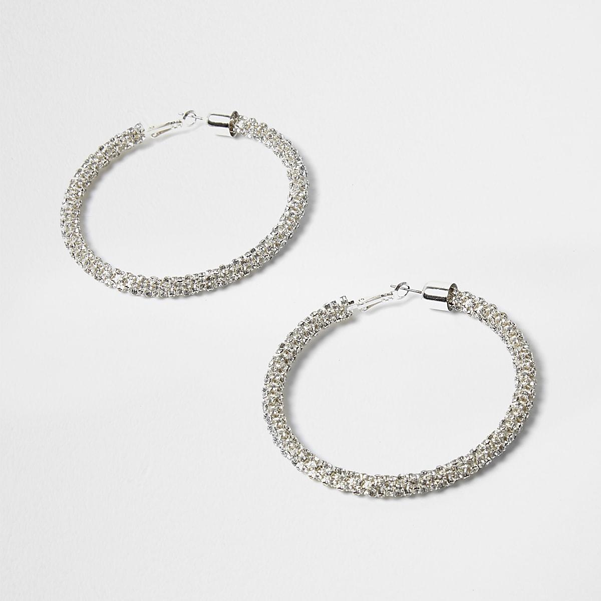 Silver tone diamante rope hoop earrings