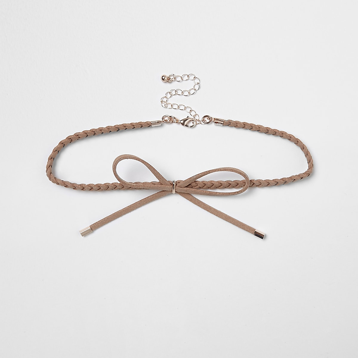 Light pink plaited suede bolo choker