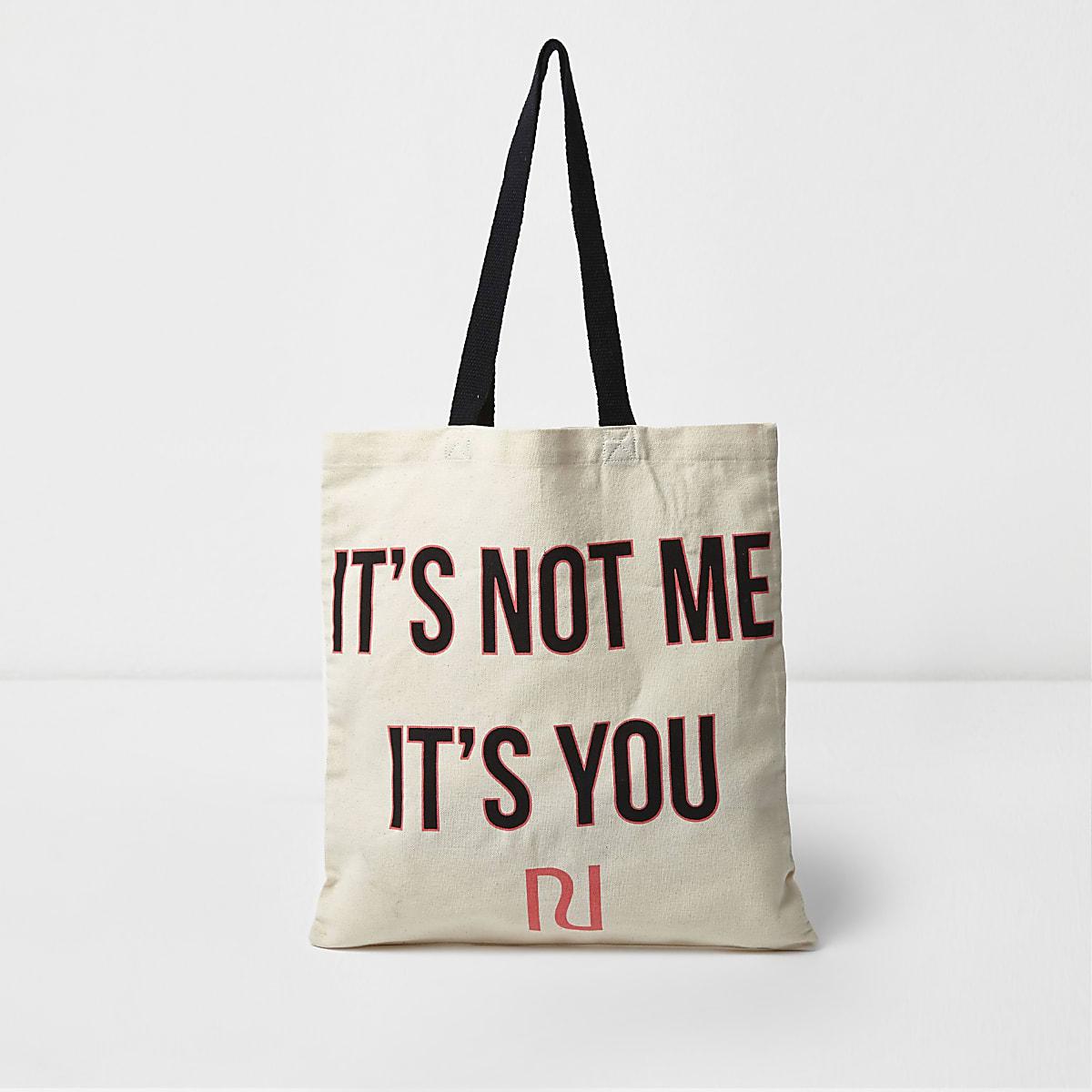 Cabas imprimé «it's not me it's you» beige