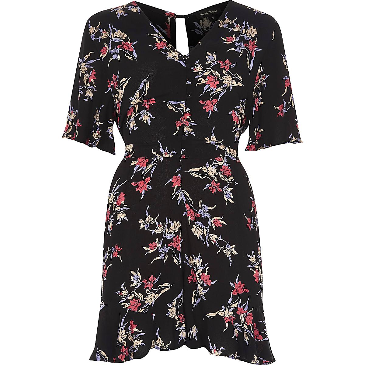 Black floral print tea dress style playsuit